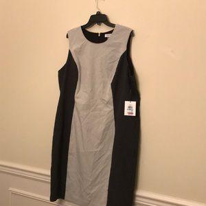 NWT Calvin Klein black /white polka dot dress 20w